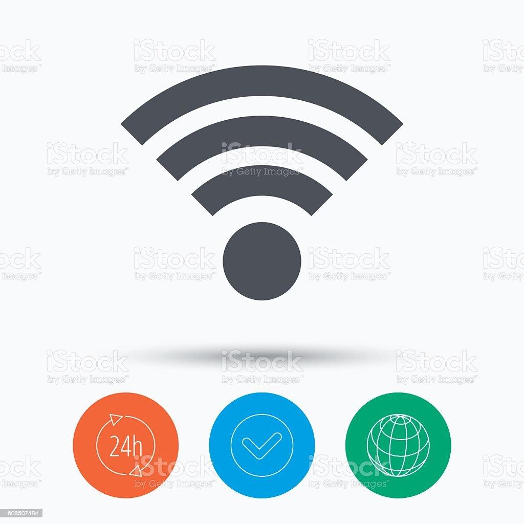 Wifi icon. Wireless internet sign. vector art illustration