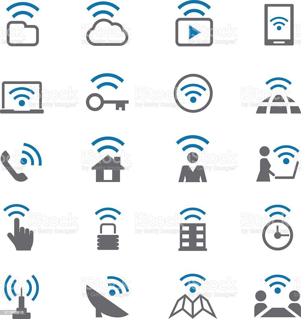 Wifi icons set vector art illustration