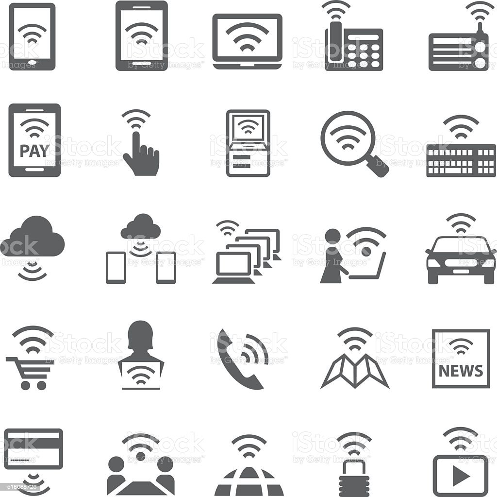 Wifi icons set vector art illustration