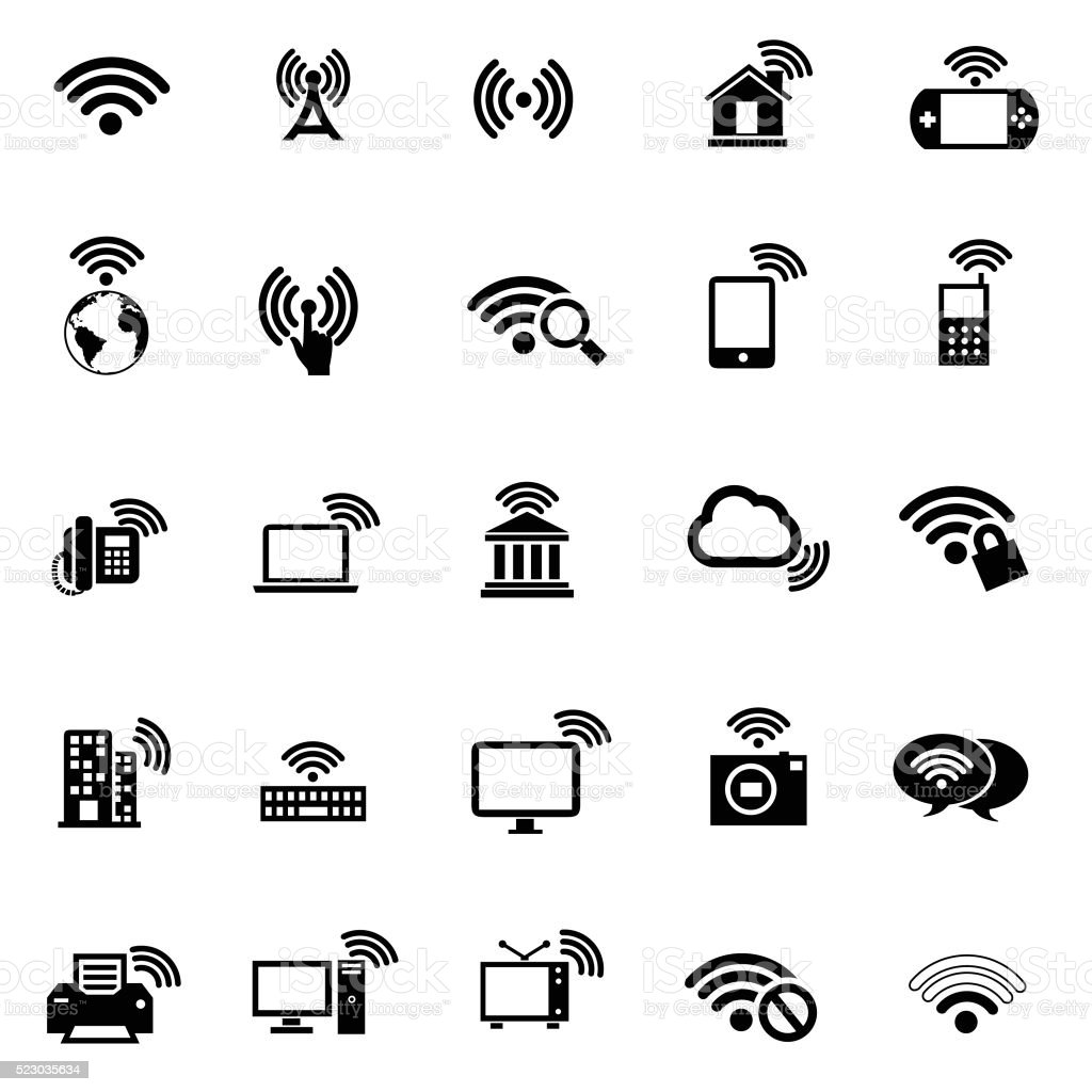 Wi-fi icons set vector art illustration