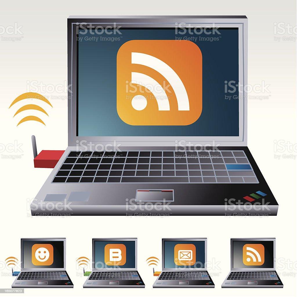 WiFi Laptop vector art illustration