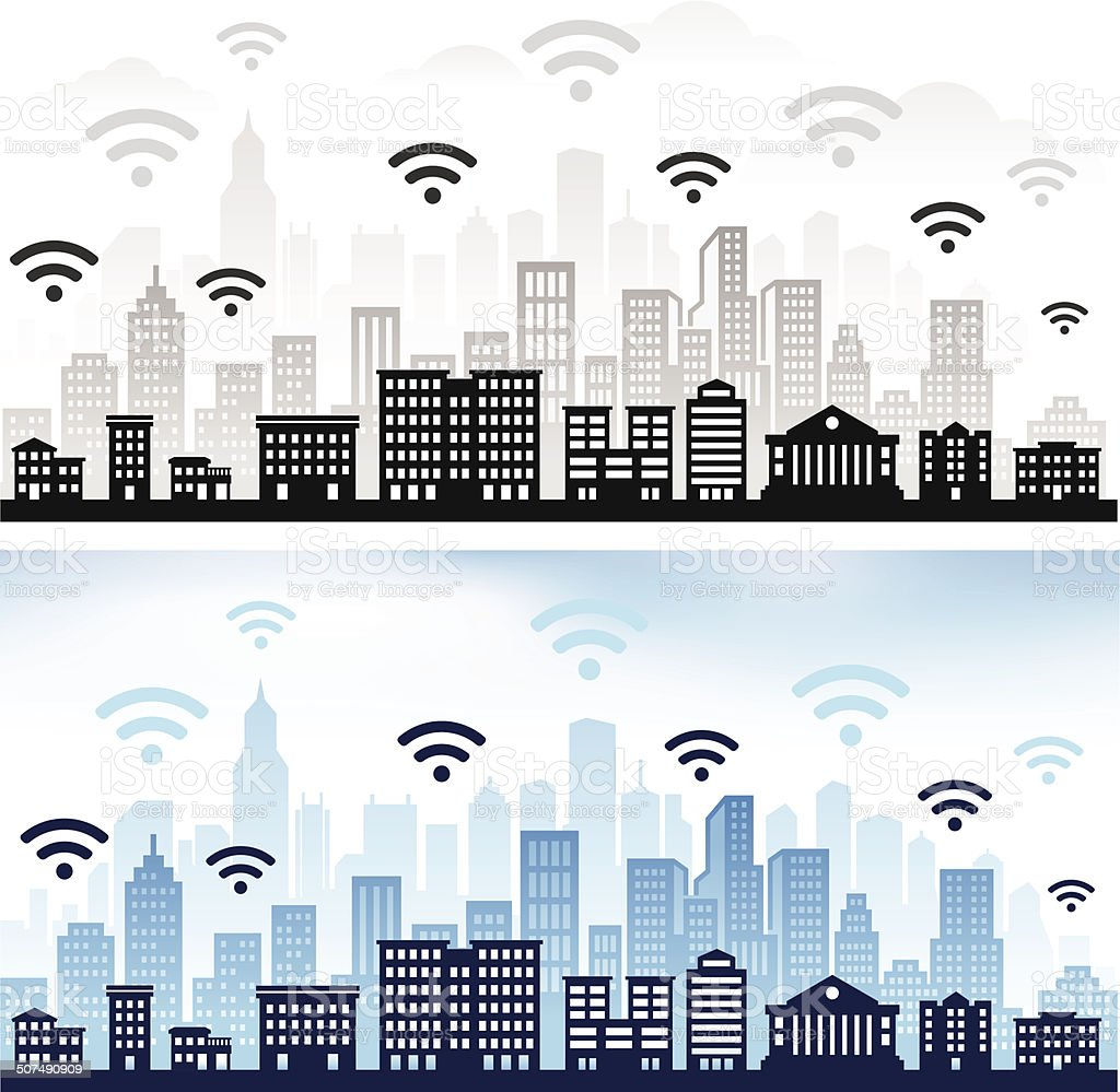 Wi-Fi on panoramic city skyline Color Set vector art illustration