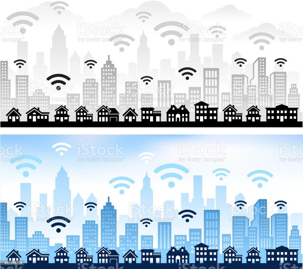 Wi-Fi panoramic city skyline Color Set vector art illustration