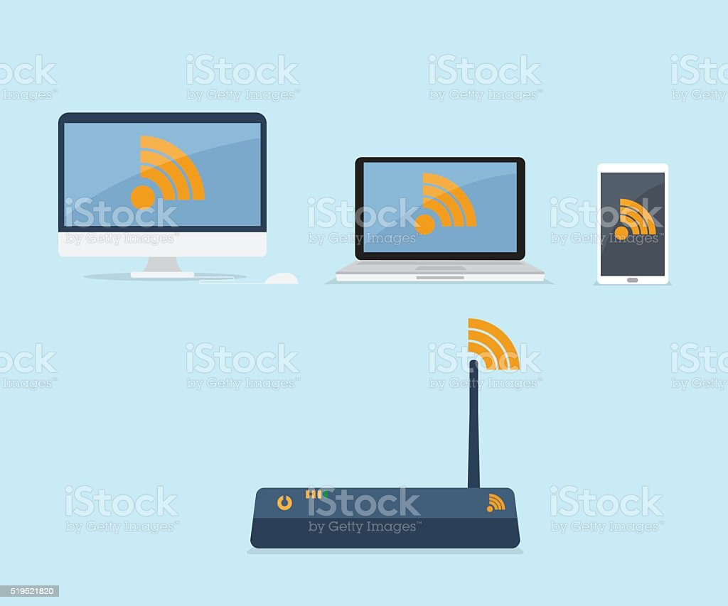 wifi router connected with device vector art illustration