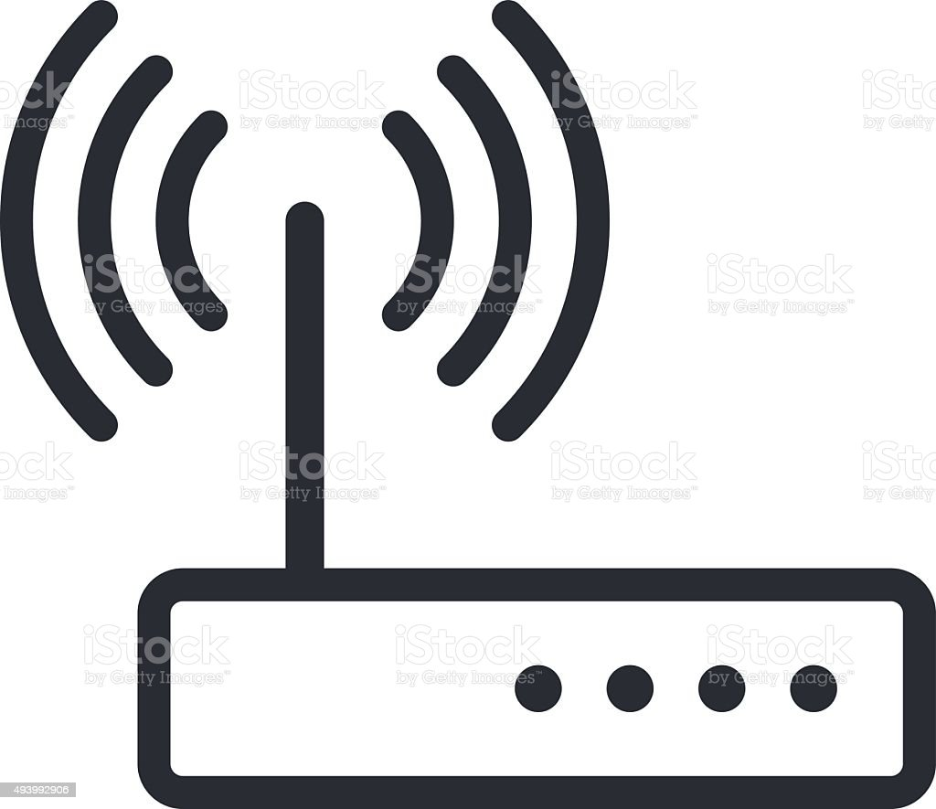 Wi-fi router outline icon, modern minimal flat design style vector art illustration