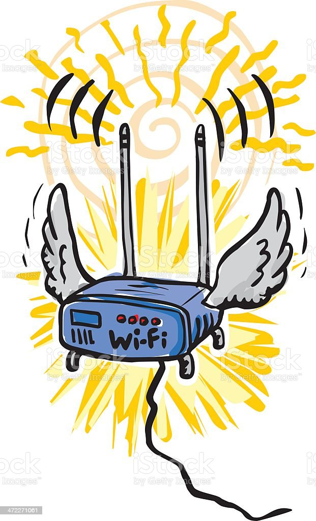 Wifi the Flying Wireless Router royalty-free stock vector art