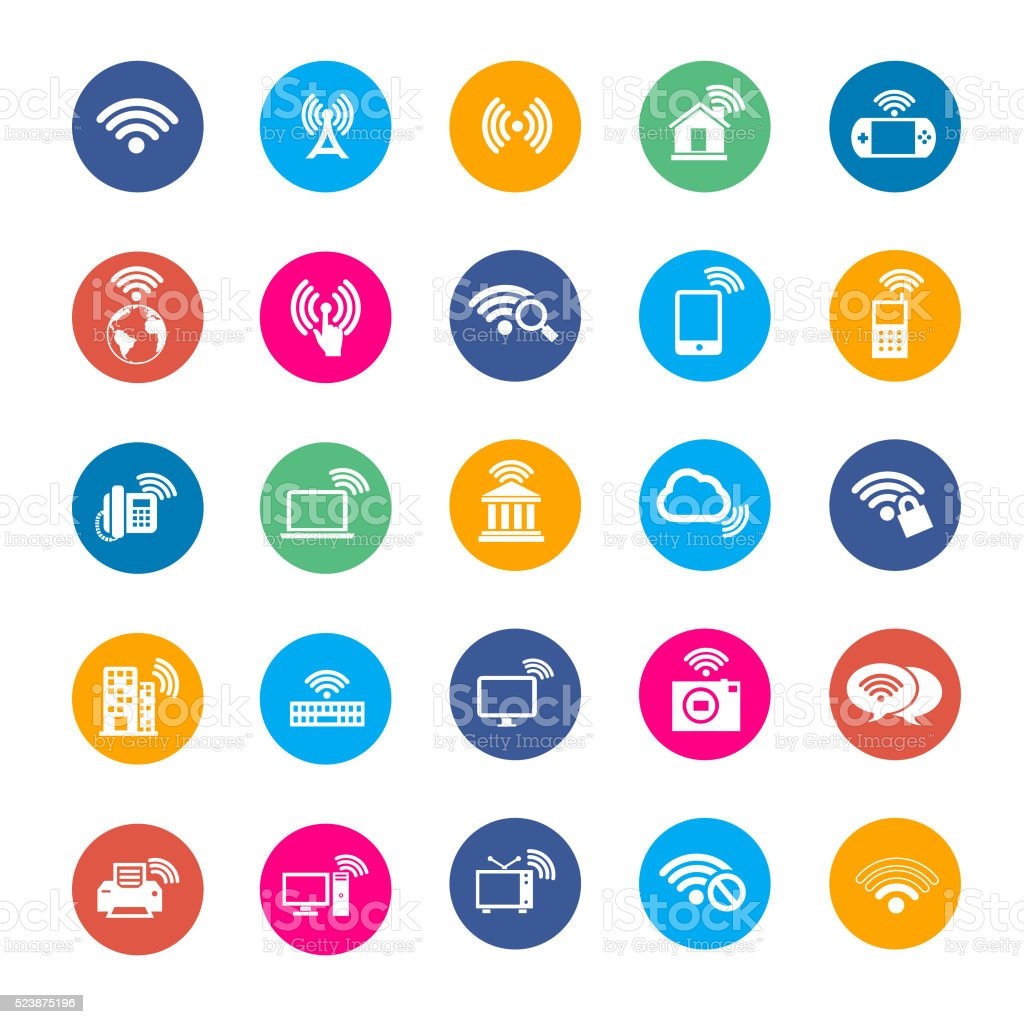 Wi-fi vector icons vector art illustration