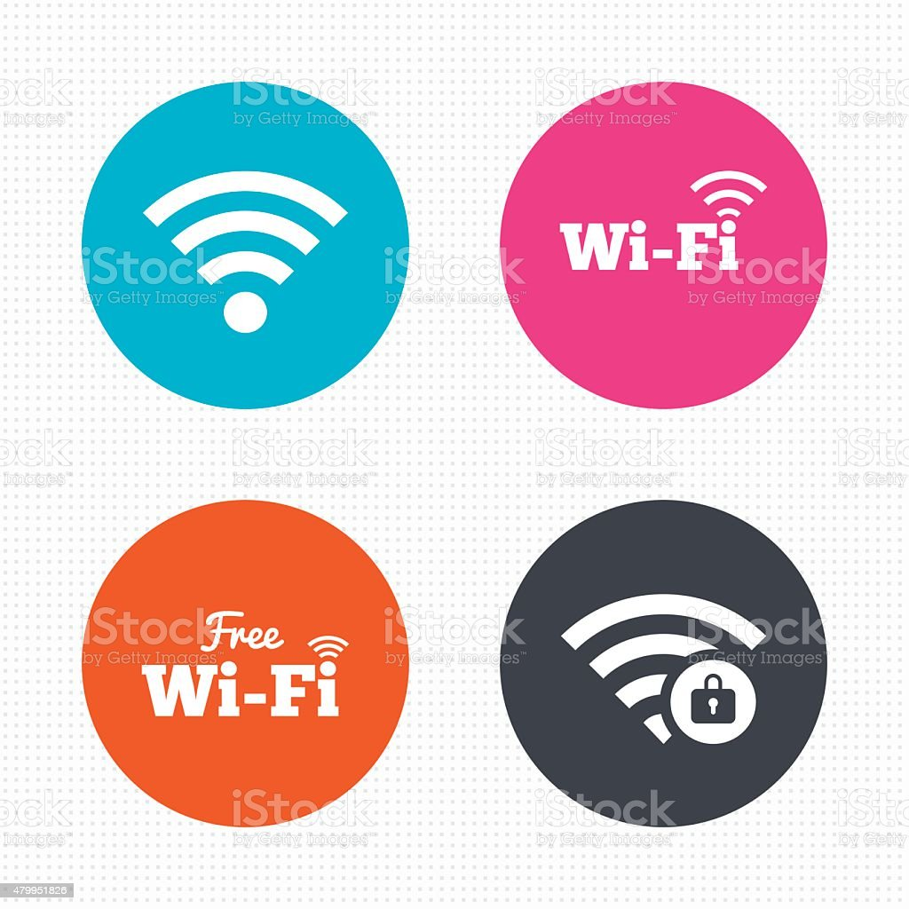 Wifi Wireless Network icons. Wi-fi zone locked vector art illustration