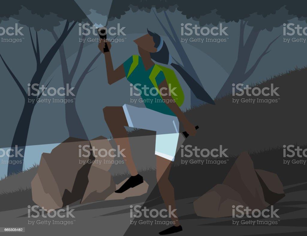 Wild adventure scene vector art illustration