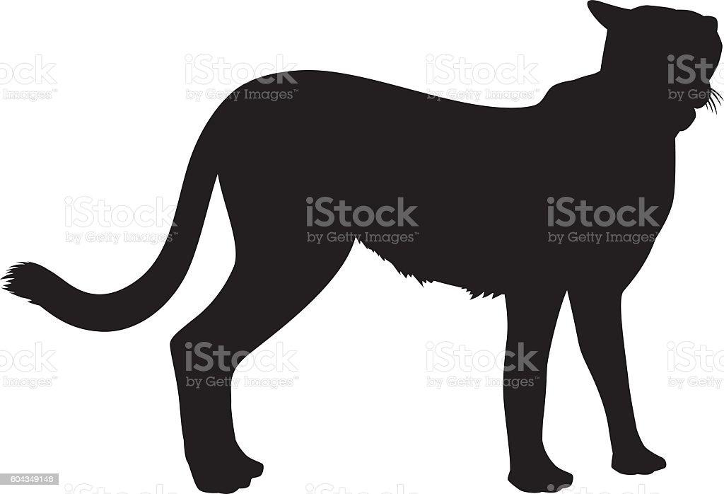 Wild African Cheetah Silhouette vector art illustration