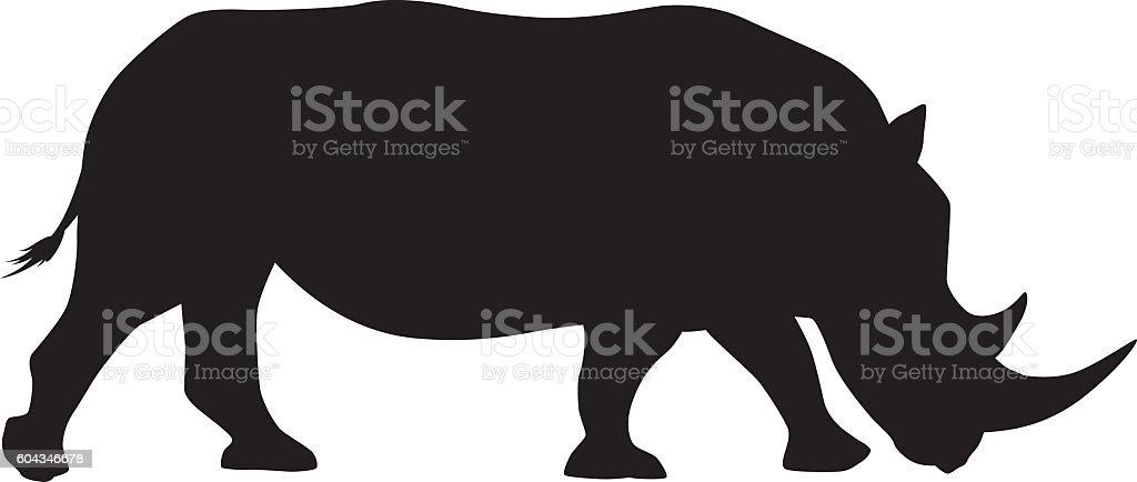Wild African White Rhinocerous Silhouette vector art illustration