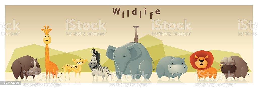 Wild animal background 1 vector art illustration