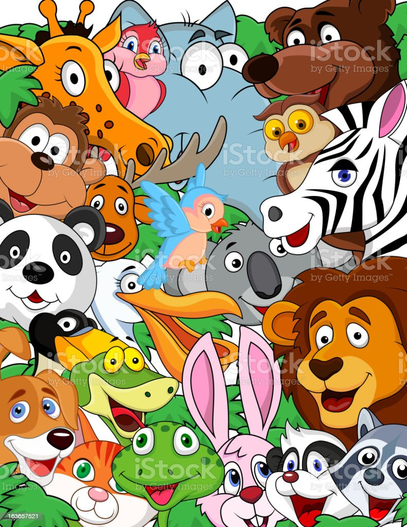 Wild animal cartoon background royalty-free stock vector art