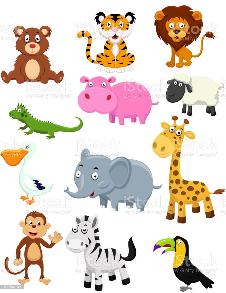 Wild animal cartoon collection set vector art illustration