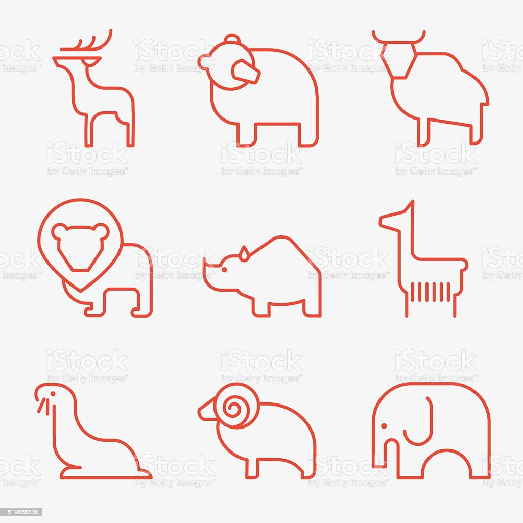 Wild animal icons vector art illustration