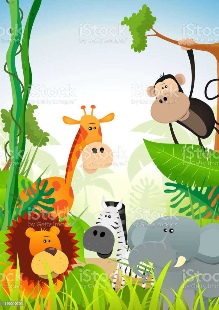 Wild Animals Background royalty-free stock vector art