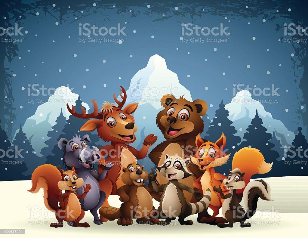 Wild Animals - Best Friends vector art illustration