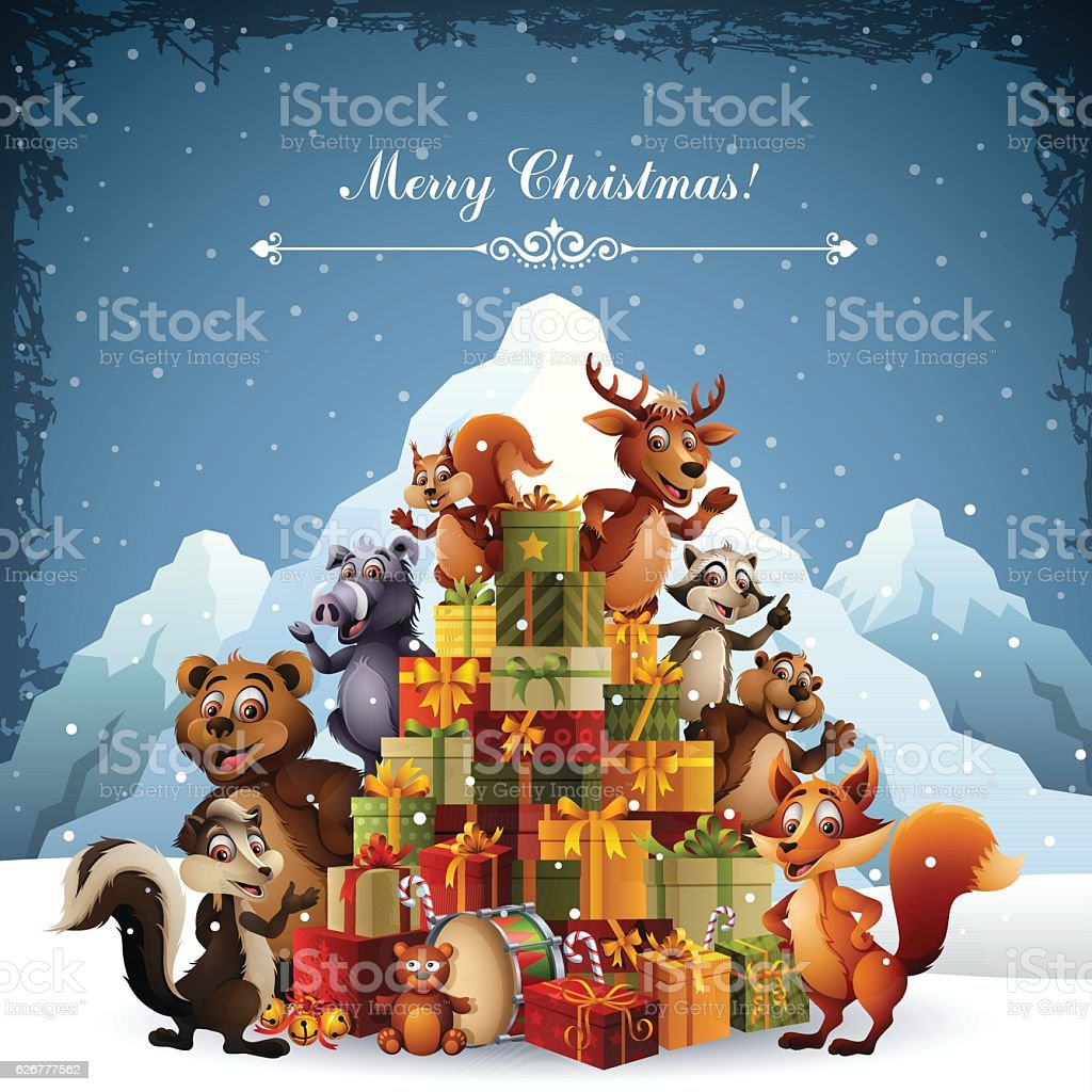 Wild Animals - Christmas Gifts vector art illustration