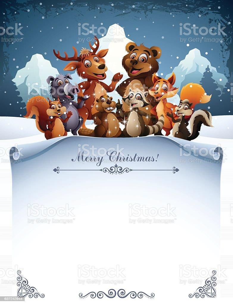 Wild Animals - Christmas vector art illustration