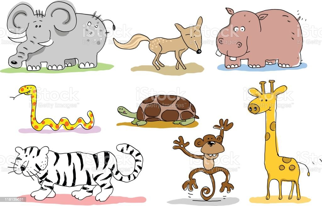 wild animals doodles royalty-free stock vector art