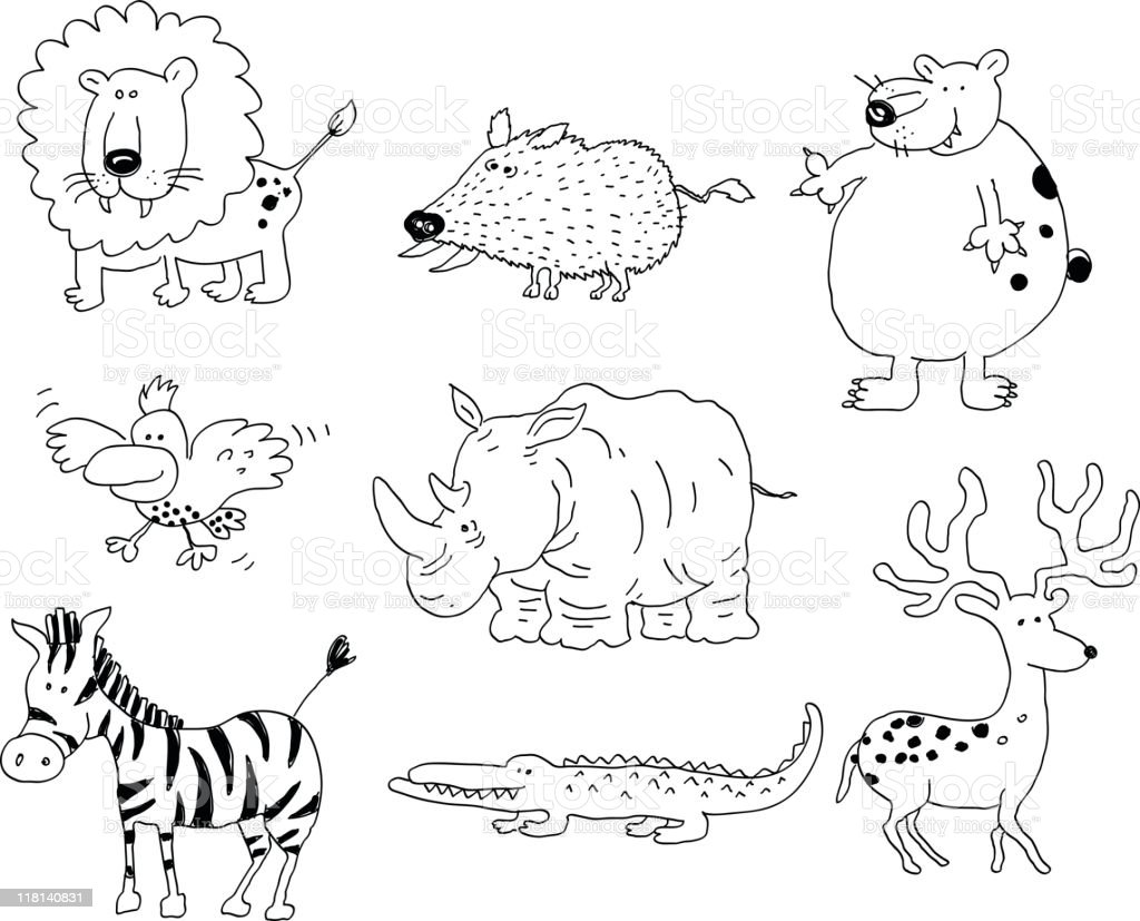 Wild animals doodles royalty-free stock vector art