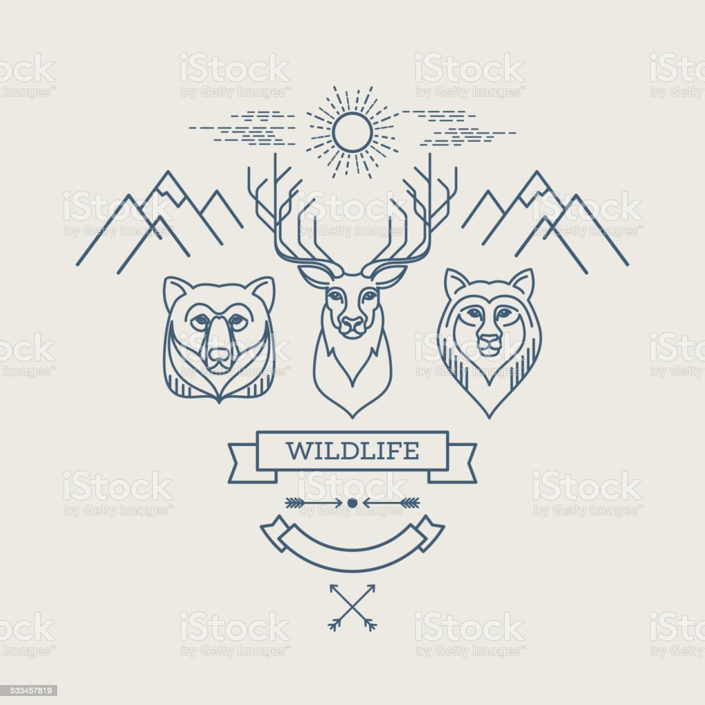 Wild animals. Flat line illustration vector art illustration