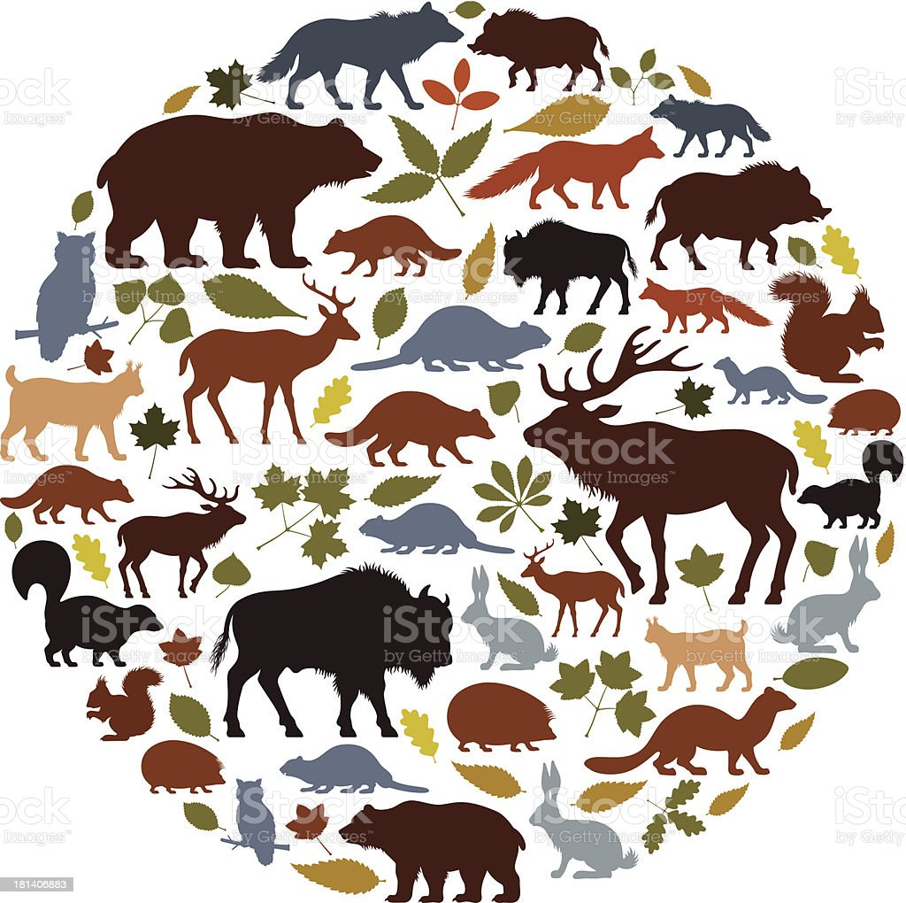 Wild Animals Icon Collage vector art illustration