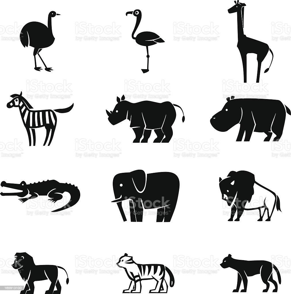 Wild Animals Icon Set royalty-free stock vector art