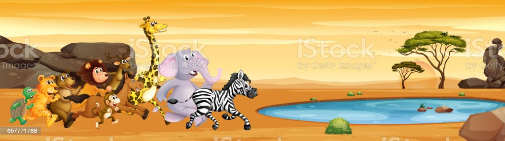 Wild animals running to the pond vector art illustration