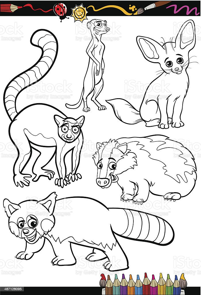 wild animals set for coloring book vector art illustration