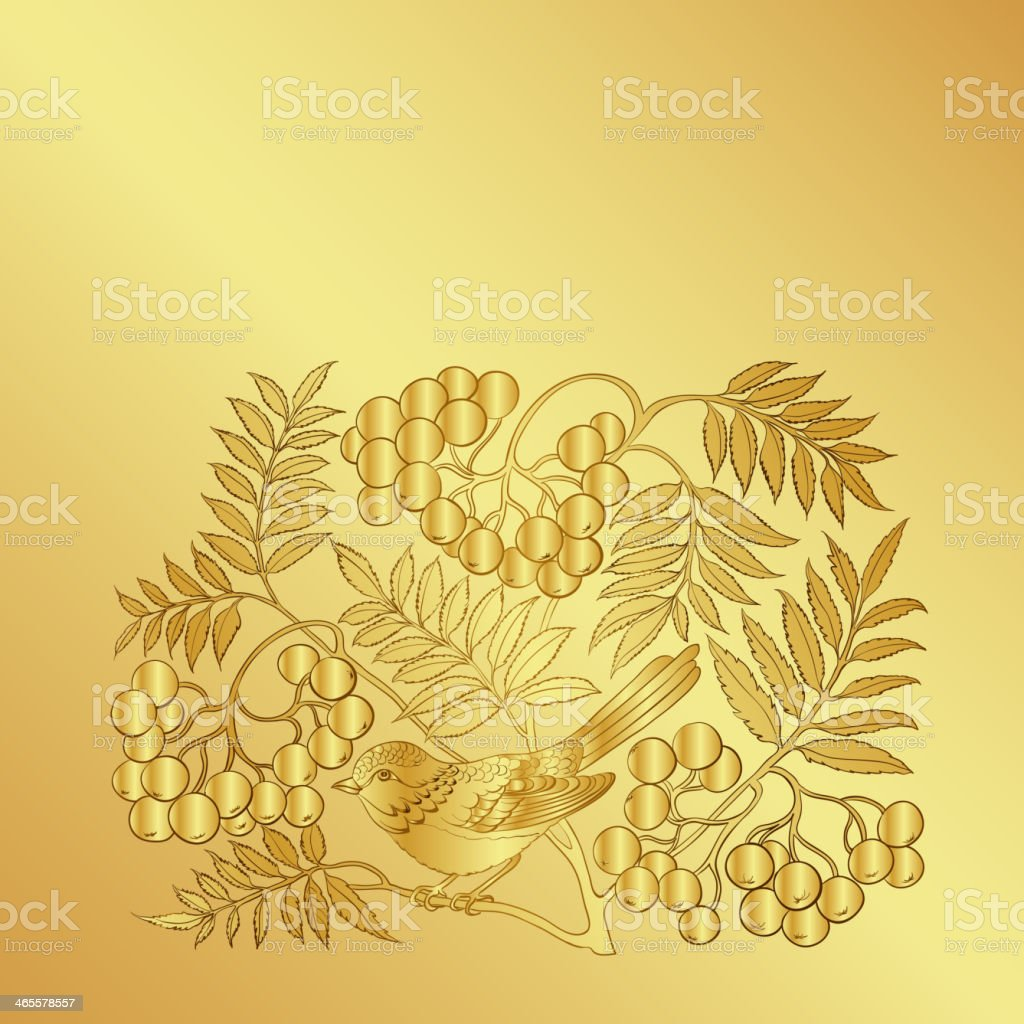 Wild ash branch isolated on a gold background. royalty-free stock vector art