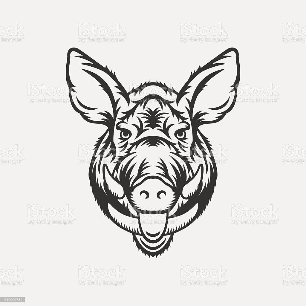 Wild boar head illustration vector art illustration