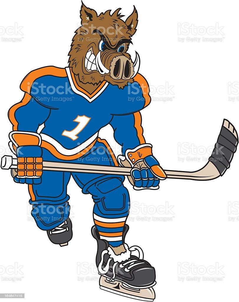 WIld Boar Plays Hockey royalty-free stock vector art