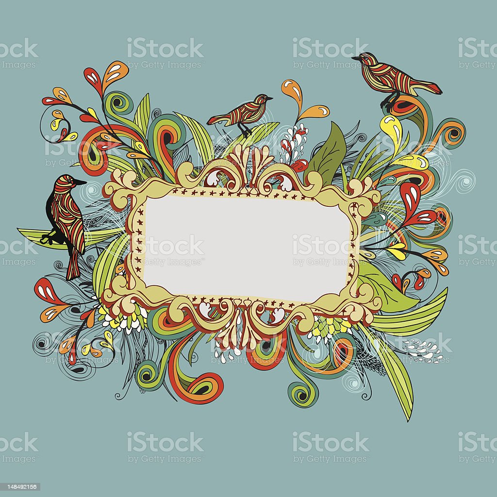 Wild colorful floral banner royalty-free stock vector art