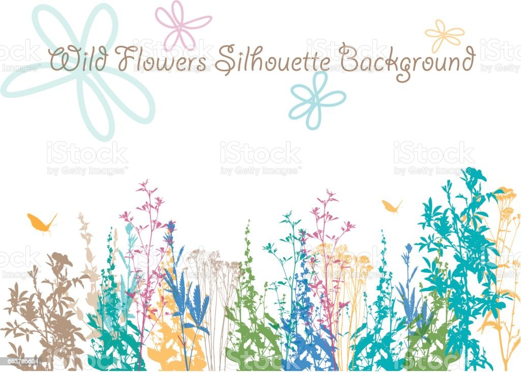 Wild Flower Earth Colored Background vector art illustration