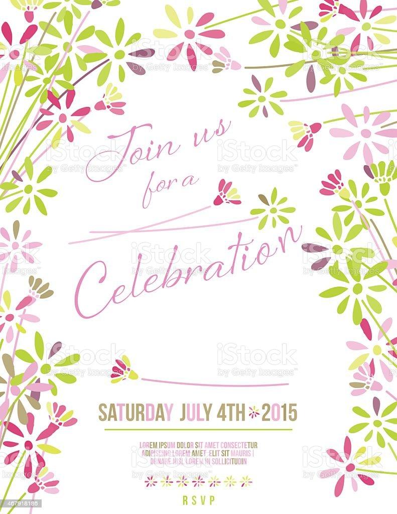 wild blume einladung vorlage für gartenparty oder feier vektor, Garten Ideen