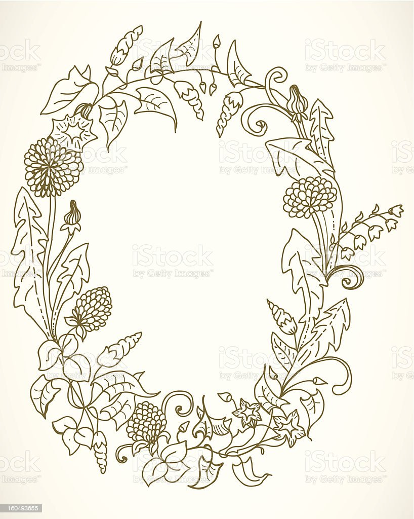 Wild flower wreath royalty-free stock vector art