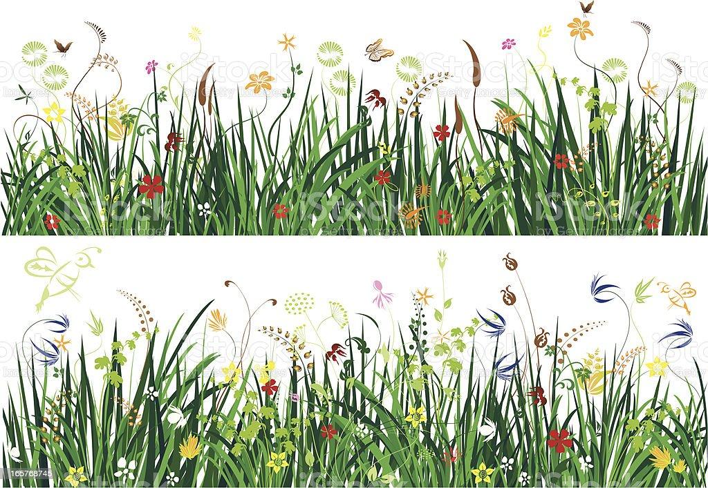 Wild flowers in long grass vector art illustration