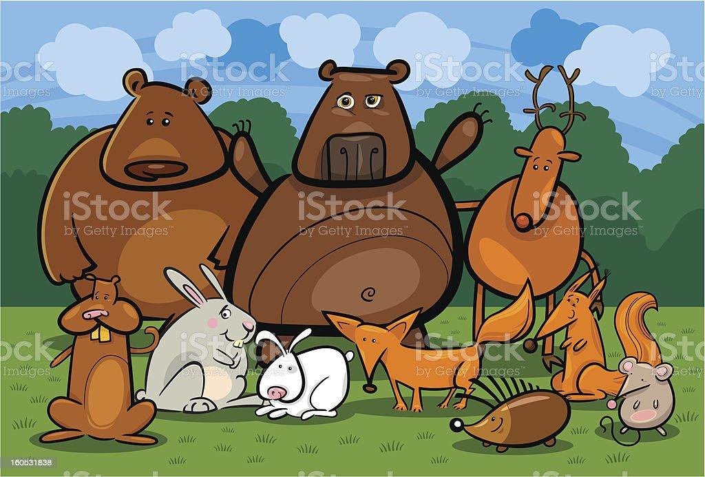 wild forest animals group cartoon illustration royalty-free stock vector art