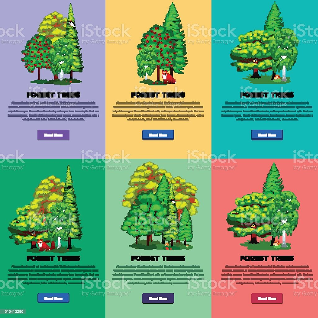 Wild forest trees, plants and animals vector set park. Outdoor vector art illustration