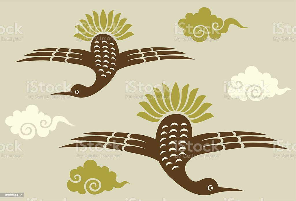 Wild Goose with Clouds royalty-free stock vector art