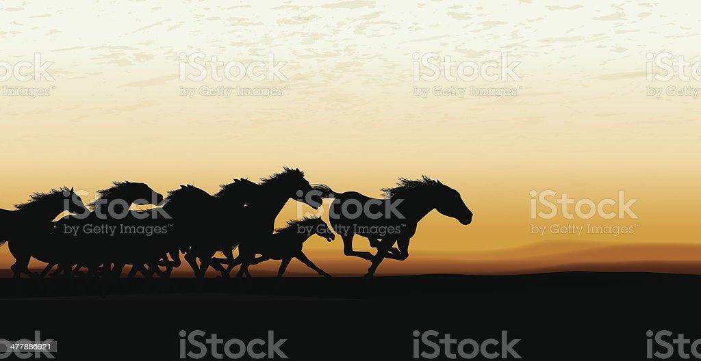 Wild Horse Stampede Background vector art illustration