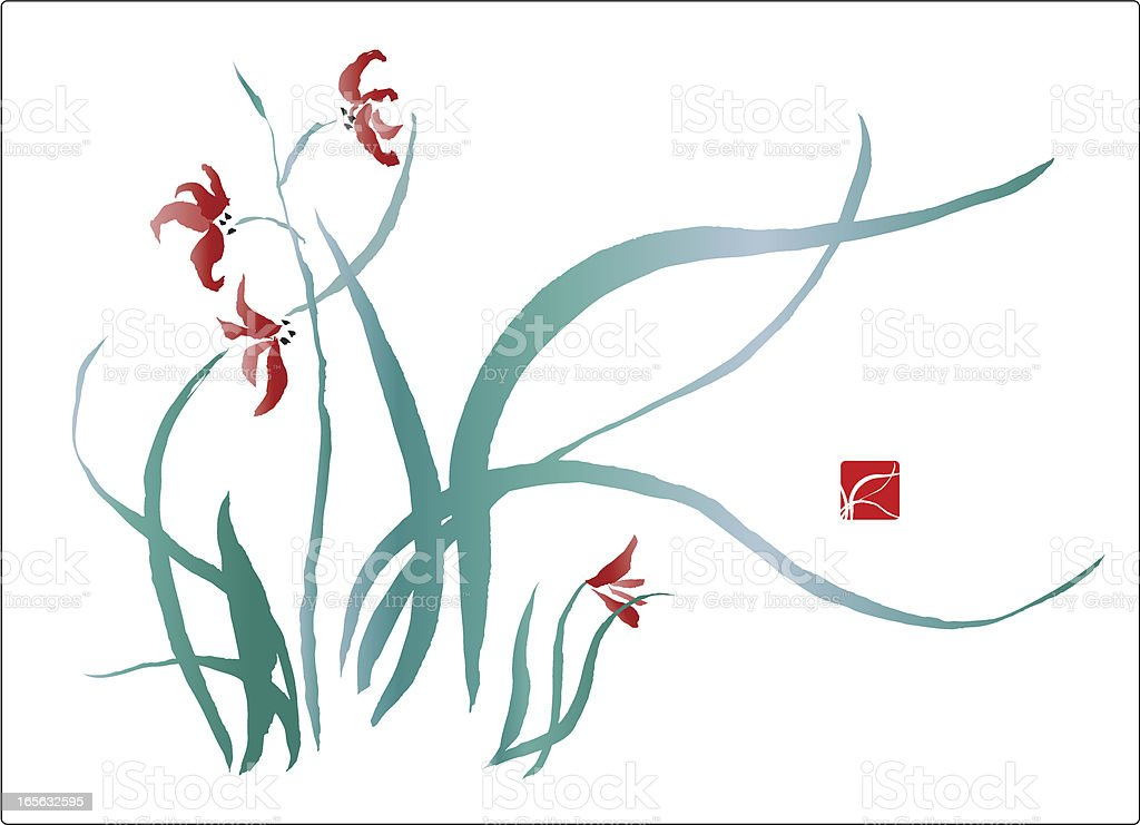 Wild Iris Flowers royalty-free stock vector art