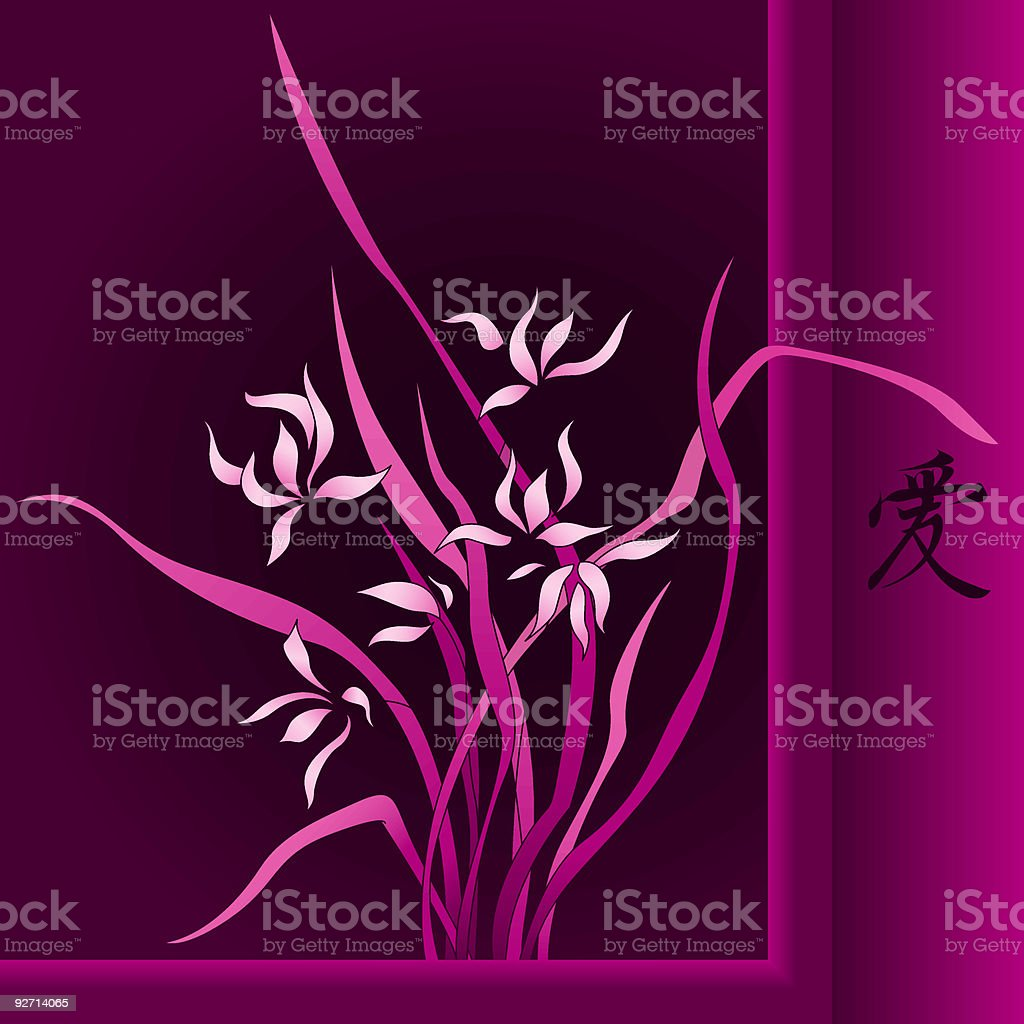 Wild orchid in the Chinese style (vector) royalty-free stock vector art