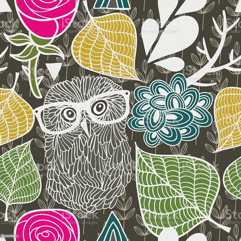 Wild owl in the autumn forest seamless pattern. vector art illustration