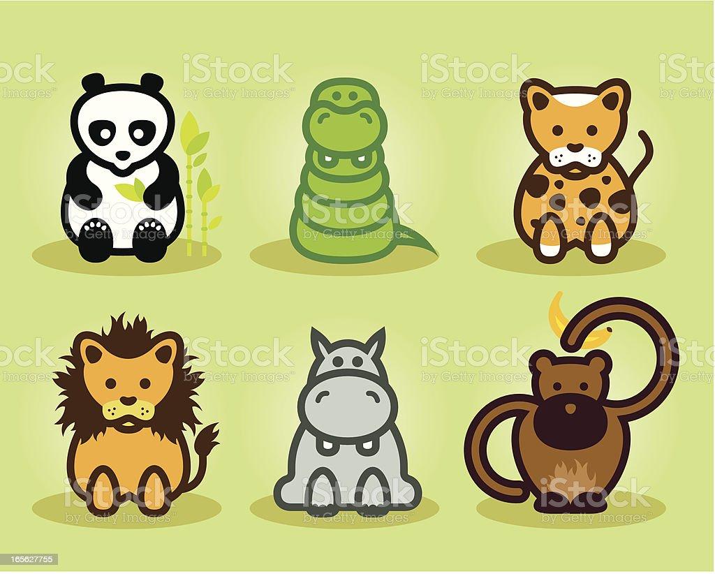 Wild puppies vector art illustration