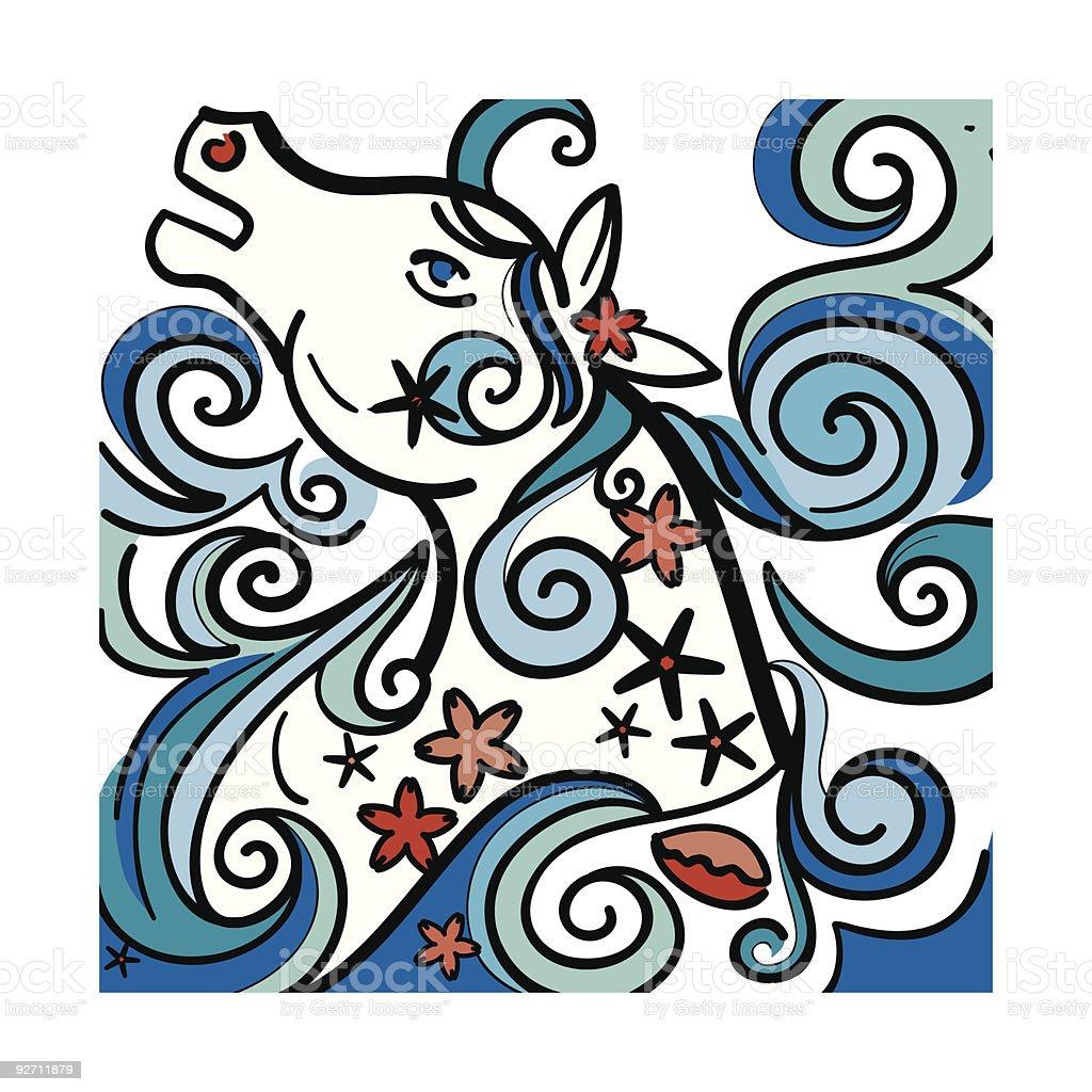 Wild Sea Horse royalty-free stock vector art