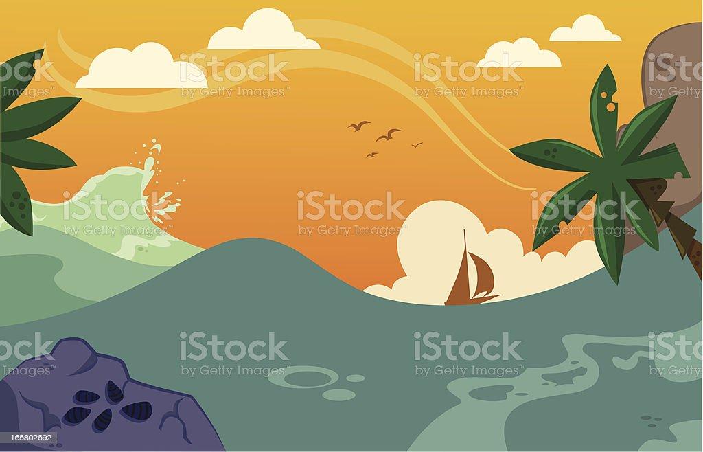 Wild Tropical Sea royalty-free stock vector art
