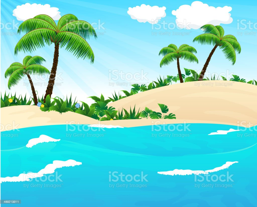 Wild tropical seascape vector art illustration
