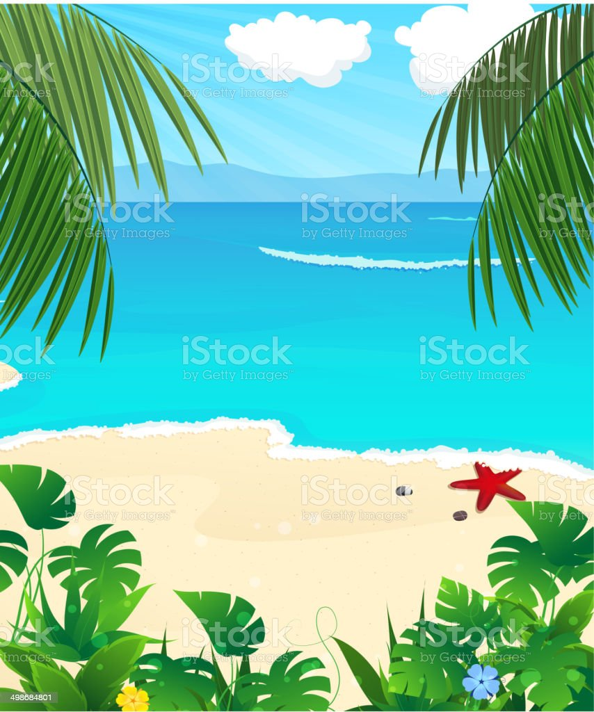 Wild tropical seascape royalty-free stock vector art